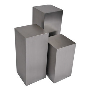 Cube 3 Piece Pedestal Table Set, Brushed Steel