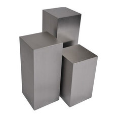 Modern Selections   Cube 3 Piece Pedestal Table Set, Brushed Steel   Side  Tables And