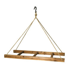 Rustic Industrial Style Hanging Wood Ladder Rack | Ceiling Linen Pot Pan Utility