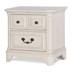 Magnussen Home Furnishings - Magnussen Windsor Lane Drawer Nightstand in Weathered White - Nightstands and Bedside Tables