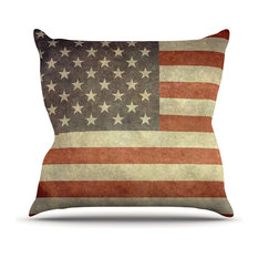 """Bruce Stanfield """"Flag of the US Retro"""" Rustic Outdoor Throw Pillow"""
