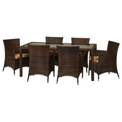 Luxury Transitional Outdoor Dining Sets Rica Piece All Weather Wicker Dining Set