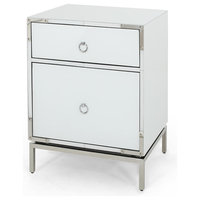 GDF Studio Danea White Glass 2 Drawer Bedside Table
