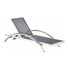 Zuo Modern Metropolitan Chaise Lounge, Brushed Aluminum, 703187