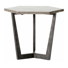 Quentin Industrial Iron Bluestone Hexagon End Table