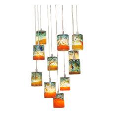 Aqua Handblown Art Glass Chandelier