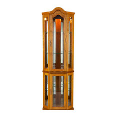 Charming Holly U0026 Martin   Riley Lighted Corner Curio Cabinet, Golden Oak   China  Cabinets And