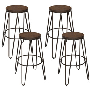 """Tully Backless 30"""" Bar Stools, Set of 4, Bronze Legs, Wooden Seat"""