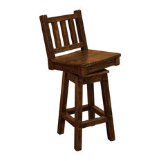 Rustic Barn Wood Style Timber Peg Bar Height Swivel Stool With Back