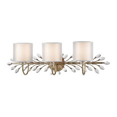Asbury 3-Light Vanity Light, Aged Silver With White Fabric Shade