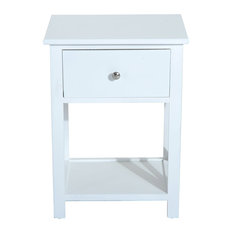 X-Side Wood End Table/Nightstand With Drawer, White