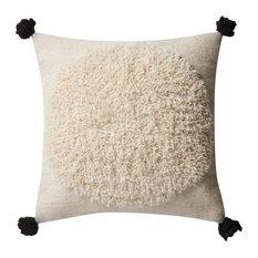 "Ivory Black P0483 Decorative Throw Pillow by Loloi x Justina Blakeney, 22""x22"","