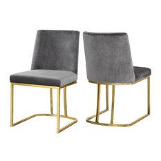 Heidi Velvet Dining Chairs, Set of 2, Gray