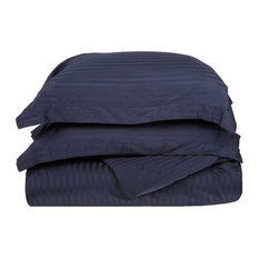 300 Thread Count Egyptian Cotton Twin Navy Blue Stripe Duvet Cover Set - Duvet  Covers And