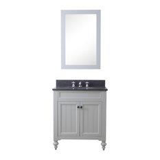 30-inch Earl Grey Single Sink Bathroom Vanity With Matching Framed Mirror