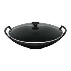 Le Creuset Cast Iron Wok and Glass Lid, 32 cm, Satin Black