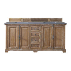 "Providence 72"" Driftwood Double Vanity w/ 3cm Shadow Gray Quartz Top"