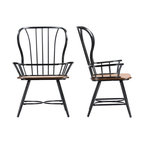Longford l Vintage-Style Industrial Dining Arm Chairs, Set of 2, Black