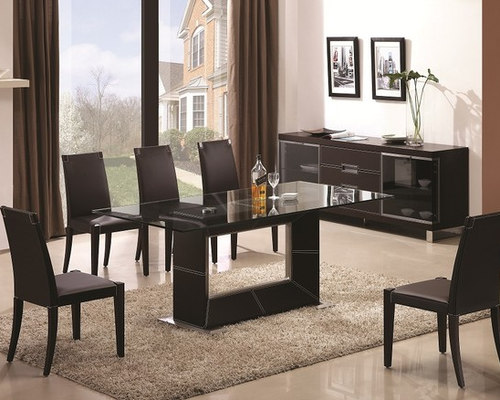 Sophisticated Rectangular Wooden And Clear Glass Top Leather Modern Dining  Set   Dining Sets
