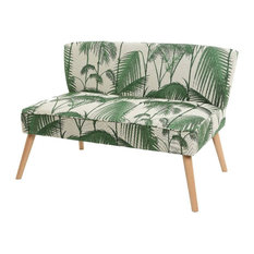 Woven Palm Leaf Upholstered Sofa