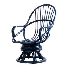 Blue Rattan Swivel Armchair