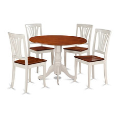 5-Piece Dining Set-Round Table And 4 Kitchen Chairs Buttermilk Cherry