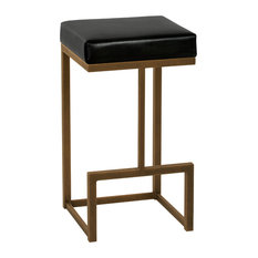 """Fortuna Barstool, Cantina Black Faux Leather and Copper Bisque Finish, 26"""""""