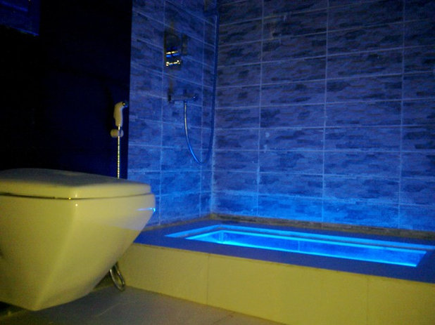 Bath Design Renew Body And Mind With Colorful Light - Blue lights in bathroom