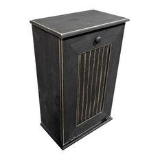 Sawdust City, LLC   Wooden Trash Bin, Large, Black   Trash Cans