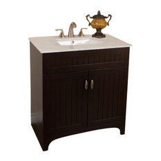 "32"" Single Sink Vanity, Sable Walnut With Quartz Top, Cream, White Top, 32"", Mar"