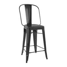 """Dreux Matte Black Steel Bar Chair 30"""", Set of 4"""