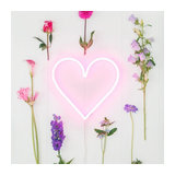 Wall Lamp Heart Neon Pink Dimmable with Remote Control