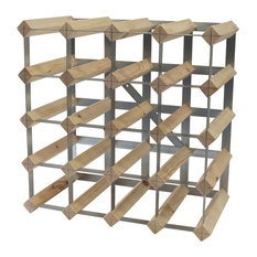Traditional Wine Rack, Natural Pine and Galvanised Steel, 20-Bottle Capacity