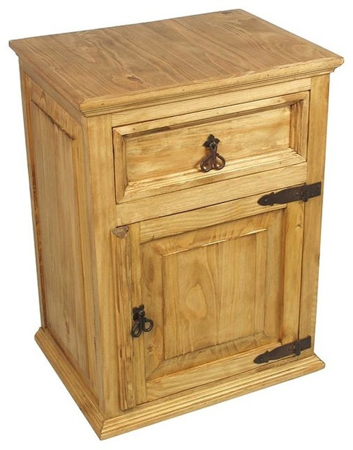 Awesome Mexican Pine Nightstand   1 Drawer U0026 1 Door   Nightstands And Bedside Tables