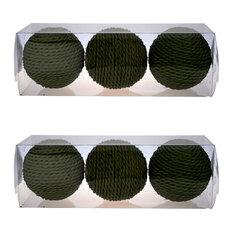 "D4"" Twine Decorative Sphere Balls, Set of 6, Green"