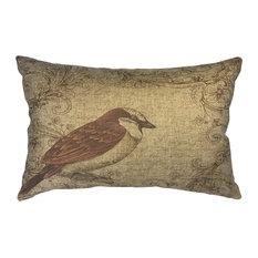 Brown Bird Linen Pillow