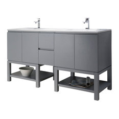 Emmet 72 Double Vanity, Metal Gray, White Sink, White Quartz Countertop