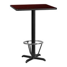 30'' Square Mahogany Table Top 22''x22'' Bar Height Table Base