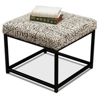 """20"""" W Square Bench Hand Woven 100% Cotton Textile Metal Tube Frame Transitional"""