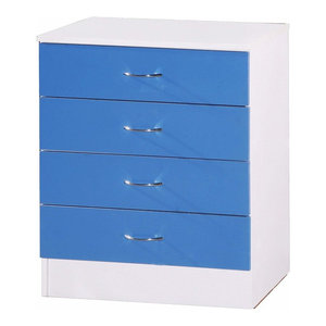 Modern Chest of Drawers in MDF With White Gloss Effect, 4 Blue Compartments