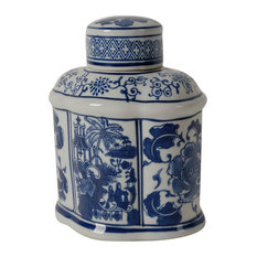 Blue and White Porcelain Jars With Lids, Set of 2