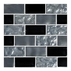 "12""x12"" Glass Tile Blends Titanium Series, Black"