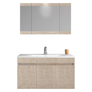 "DP Wall Bath Vanity Cabinet Set 36"" Single Sink With Laminated Beige Oak Finish"