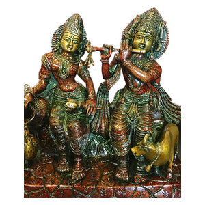Mogulinterior - Radha Krishna Statue Hindu Idol Indian Sculpture Brass- Symbol of the Love - Decorative Objects And Figurines