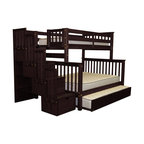 Bedz King Bunk Beds Twin over Full Stairway, 4 Drawers & Twin Trundle Cappuccino