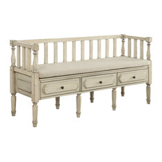 Lansbury Traditional Country Storage Bench With Drawers, White