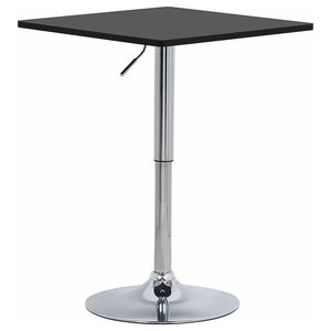 Modern Bistro Bar Table, Wooden Top and Chrome Finish Stand, Square Design Black