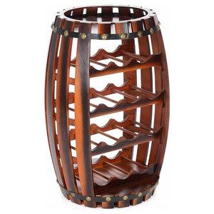 Traditional Stylish Slatted Barrel Wine Rack, Solid Wood, 14-Bottle Capacity