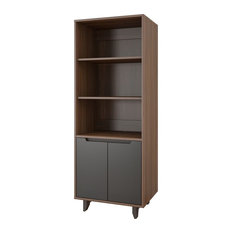 Alibi Bookcase/Audio Tower, Walnut and Charcoal