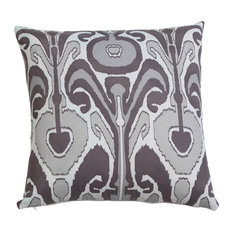 "Kenmare Ikat Hand Print Pillow Cover 20"" Gray"